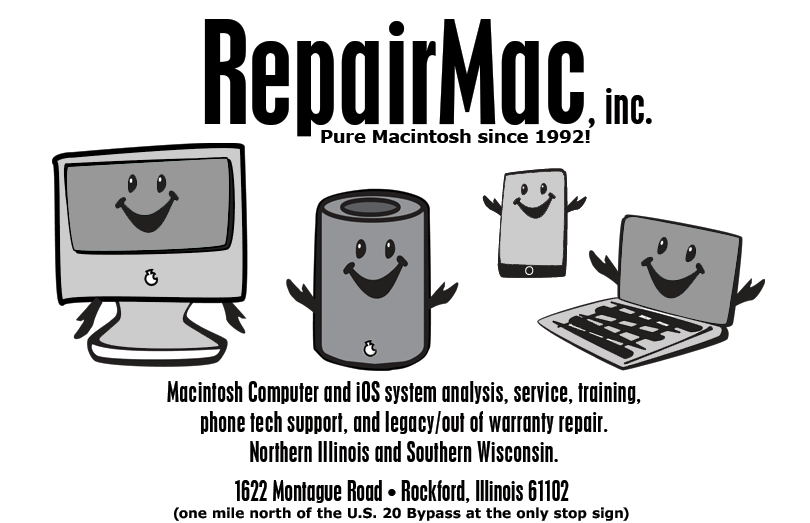 RepairMac for your Mac and iOS devices! In-house, on-site and phone tech support and training.